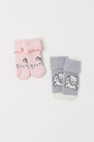 2-pack terry socks - Light grey marl/Hello Kitty - Kids | H&M CN