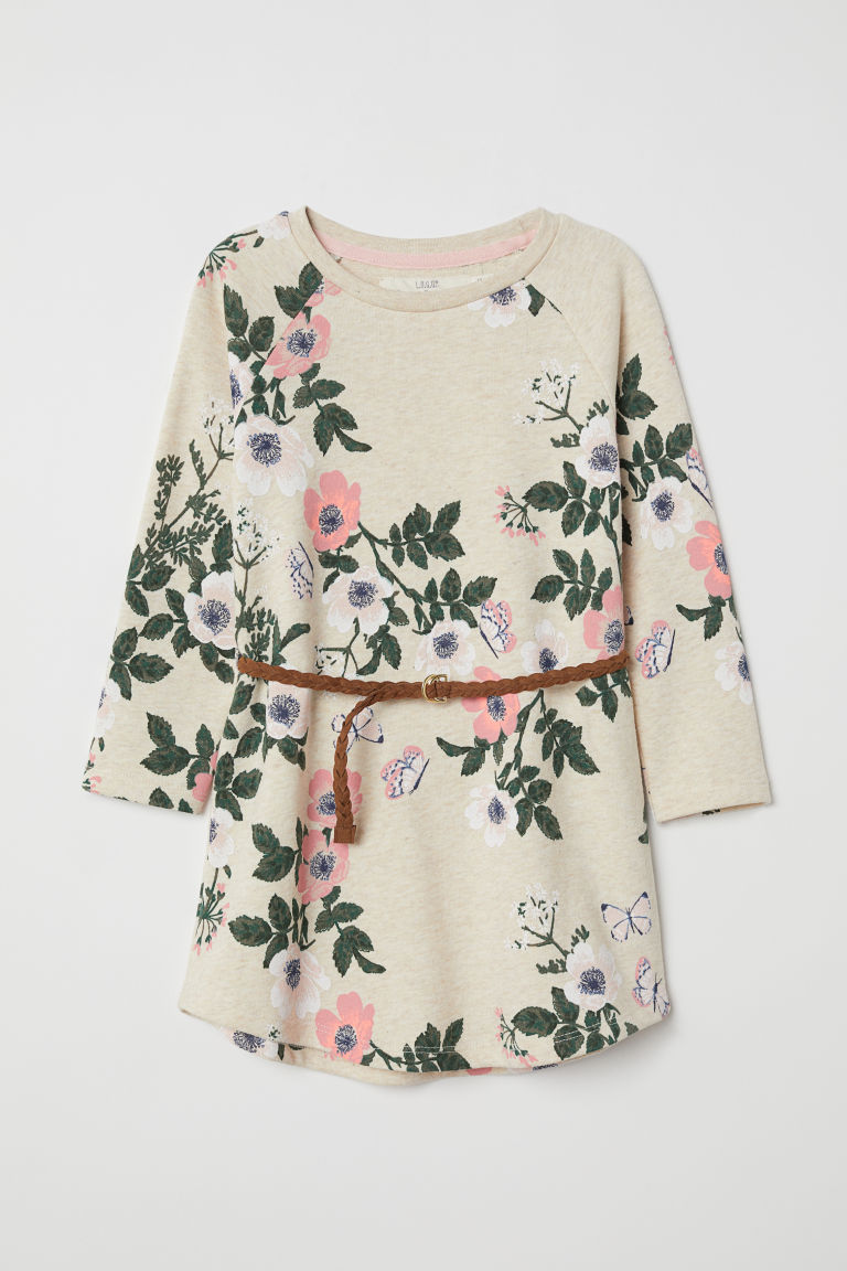Sweatshirt dress - Light beige/Floral - Kids | H&M GB