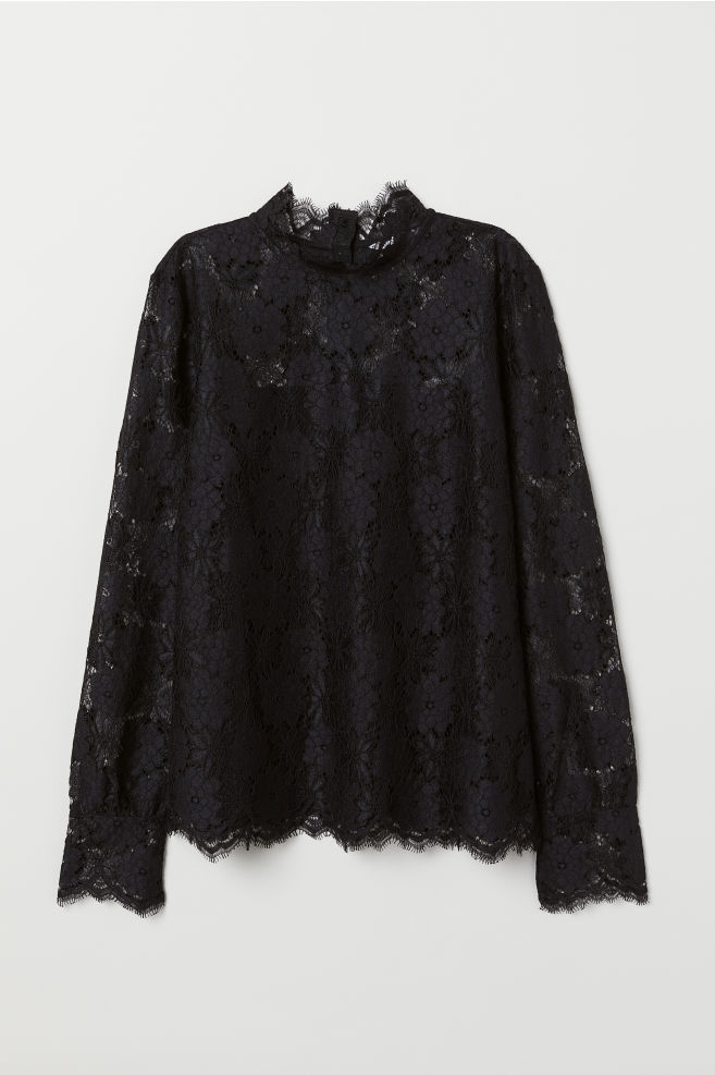 392a3adfeeba Long-sleeved Lace Top - Black - Ladies | H&M ...