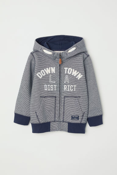 Hooded jacket - Dark blue/Narrow striped -  | H&M