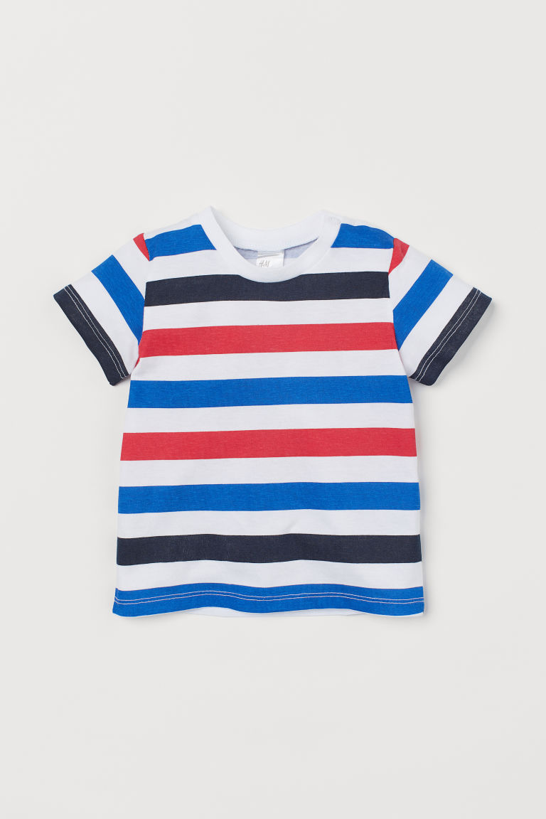 Cotton T-shirt - White/Multicoloured stripes - Kids | H&M IN