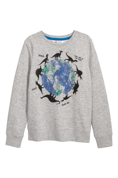 Sweat avec impression - Gris chiné/dinosaures - ENFANT | H&M FR