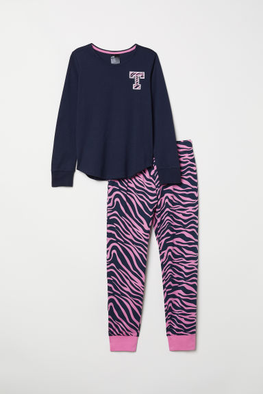 Jersey pyjamas - Dark blue/Pink-patterned - Kids | H&M