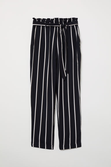 Paper bag trousers - Black/Striped - Ladies | H&M