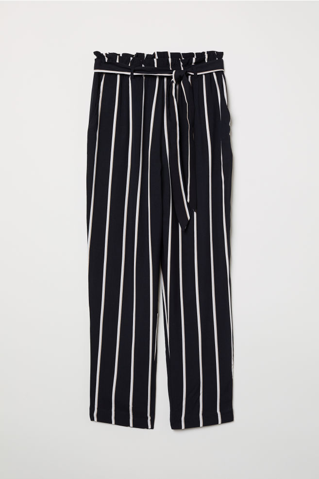 28ea7ef9a Paper-bag Pants - Black/striped - Ladies | H&M ...