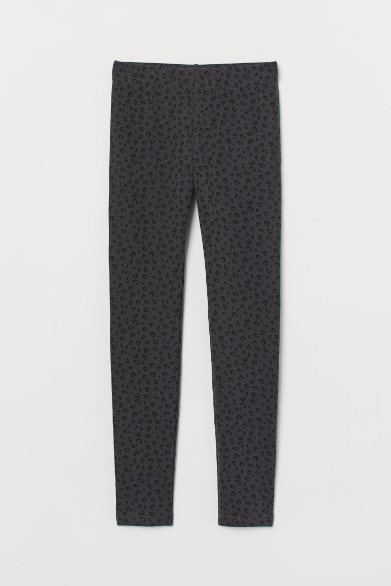 Leggings with brushed inside - Dark grey/Leopard print - Kids | H&M IN