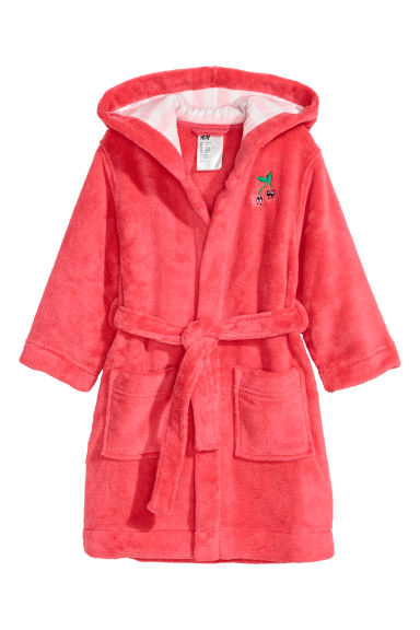 Fleece dressing gown - Raspberry red/Cherries -  | H&M CN