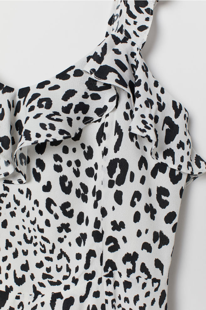 192397884328 ... Dress with Ruffles - White/leopard print - Ladies | H&M ...