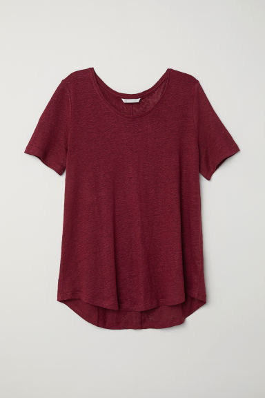 Round-necked linen top - Burgundy -  | H&M