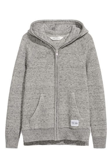 Knitted hooded jacket - Grey marl -  | H&M CN