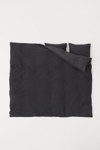Waffled duvet cover set - Anthracite grey - Home All | H&M CN