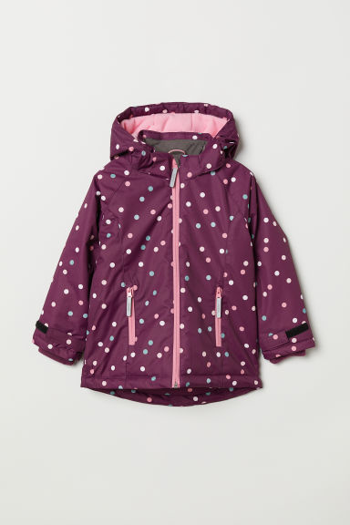 Padded outdoor jacket - Dark purple/Spotted - Kids | H&M