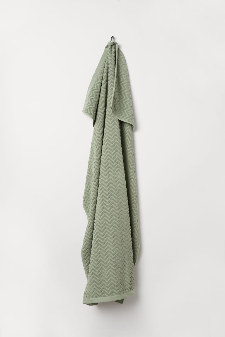 Jacquard-weave bath sheet - Dusky green - Home All | H&M CN