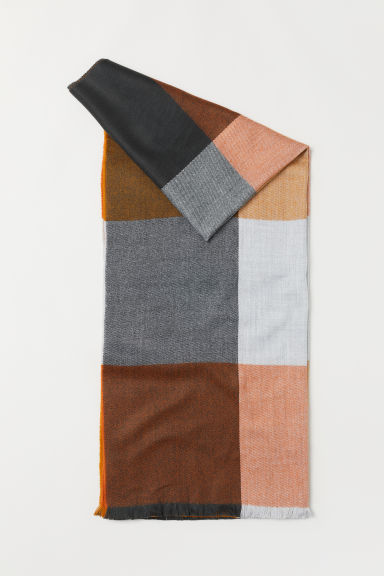 Checked Scarf - Gray melange/yellow - Men | H&M CA
