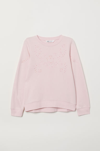 Sweatshirt with embroidery - Light pink - Kids | H&M CN
