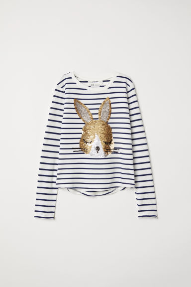 Top with sequins - White/Rabbit - Kids | H&M