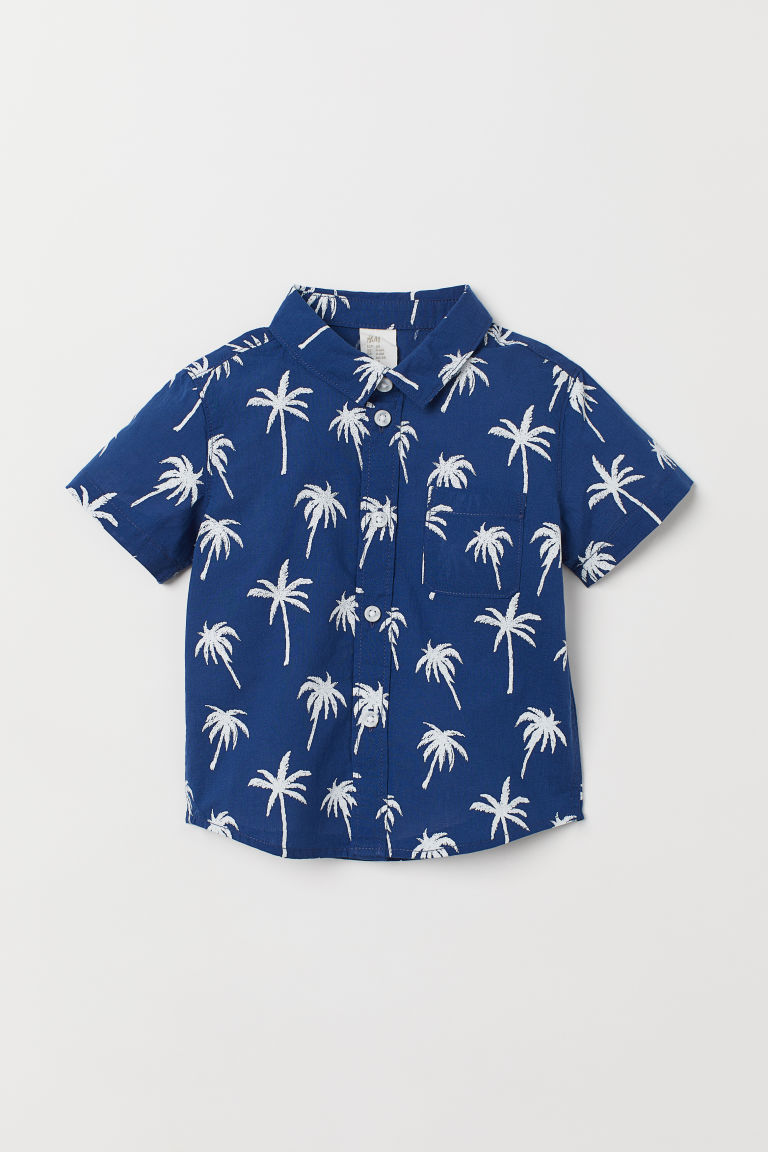 Patterned cotton shirt - Dark blue/Palm trees - Kids | H&M