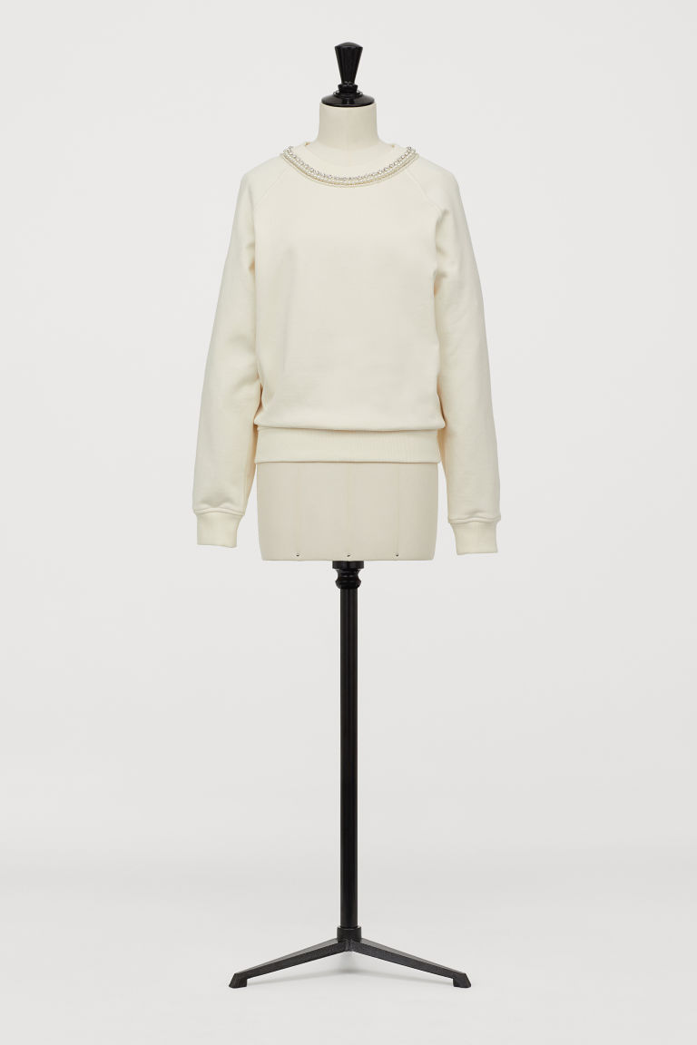 Sweatshirt with sparkly stones - Cream - Ladies | H&M