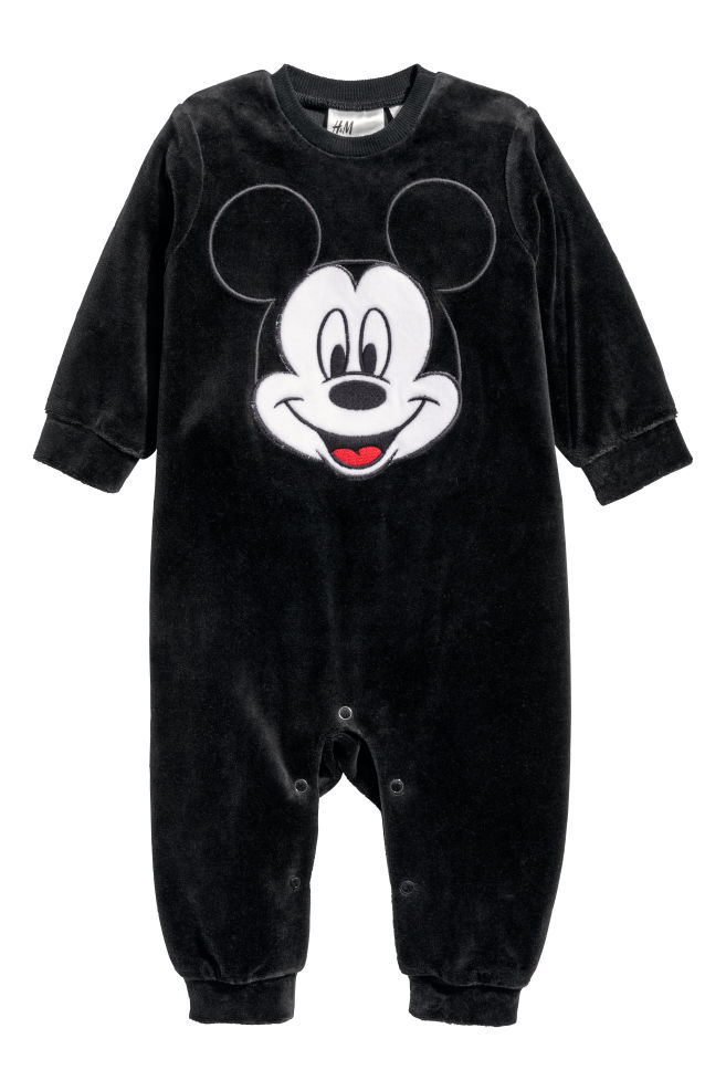 d540feb1b Pijama entero de terciopelo - Negro Mickey Mouse - NIÑOS