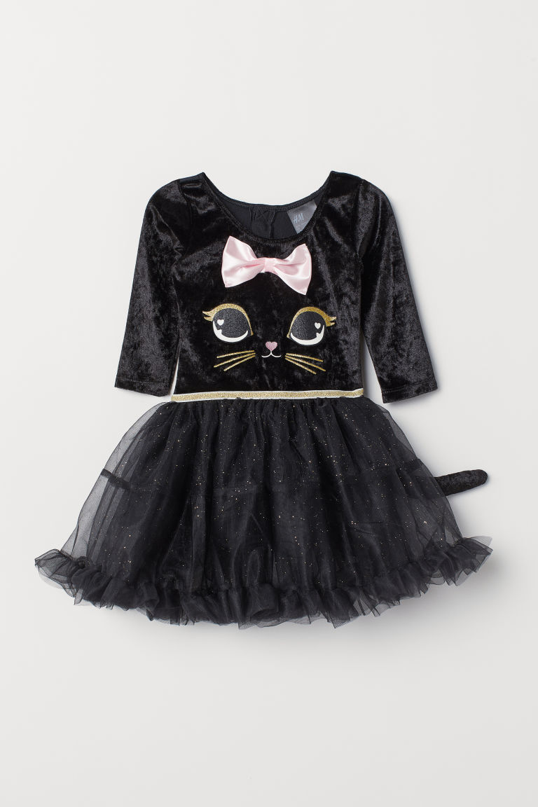 Leotard with a tulle skirt - Black/Cat - Kids | H&M