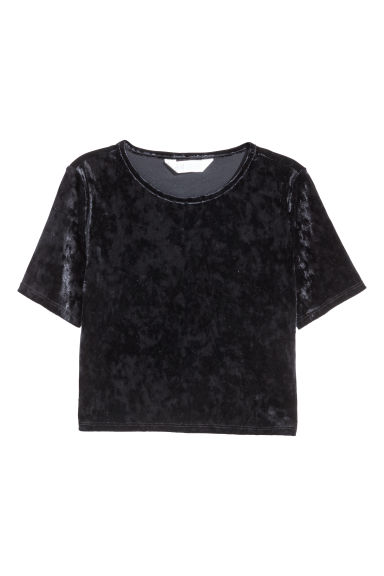 Short velvet top - Black - Kids | H&M CN