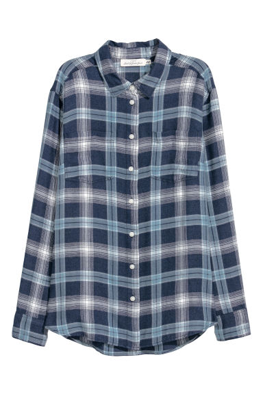 Flannel shirt - Dark blue - Ladies | H&M