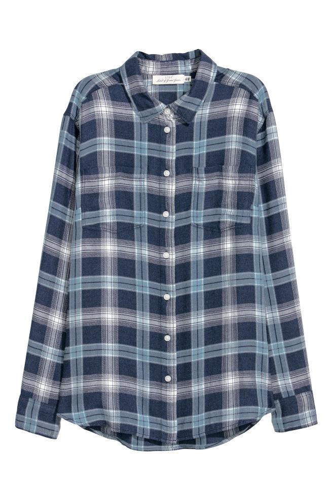 Flanellen Overhemd.Flanellen Overhemd Donkerblauw Dames H M Nl