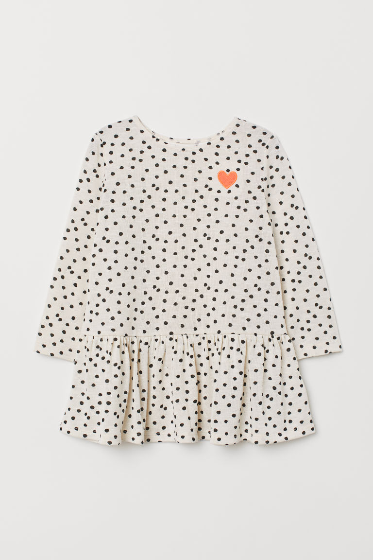 Patterned dress - Light beige/Spotted - Kids | H&M CN