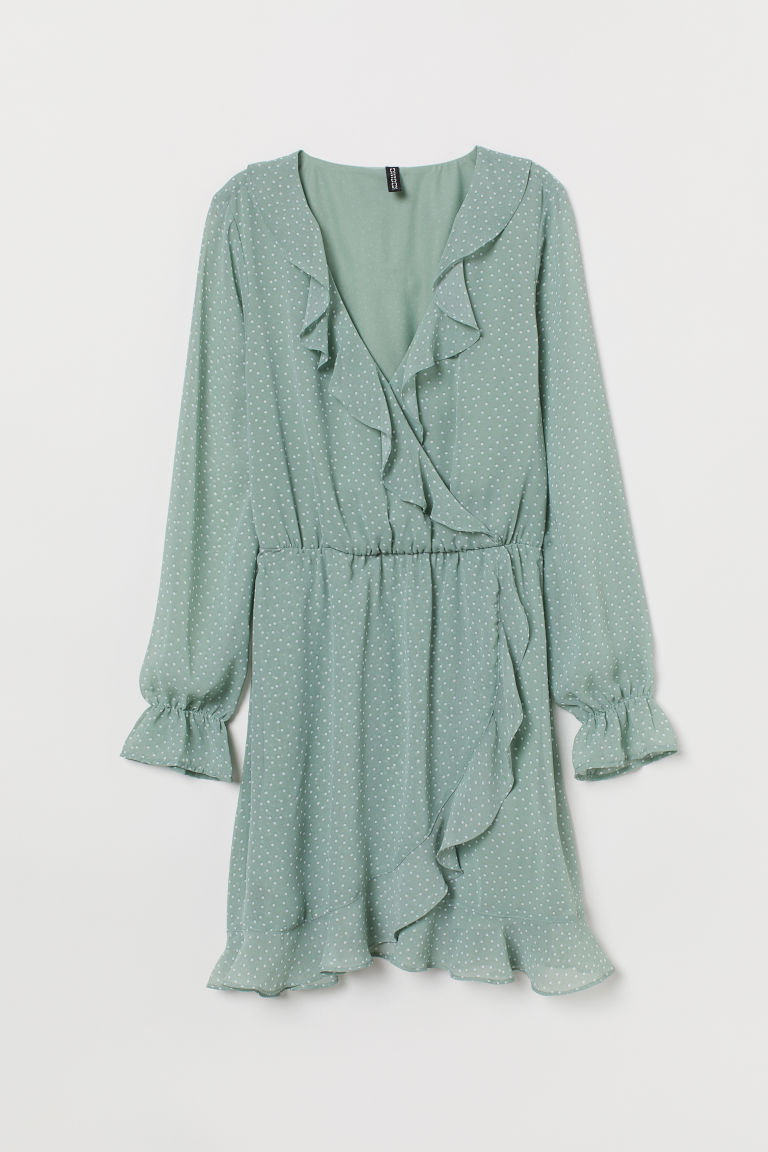 Short Wrap Dress - Dusky green/white dotted -  | H&M US