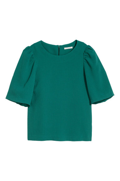 Puff-sleeved blouse - Emerald green - Ladies | H&M CN