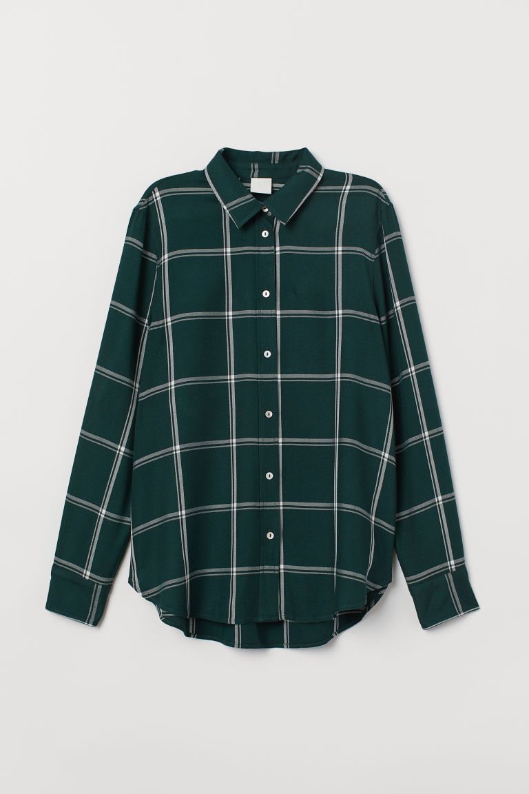 Camicia a quadri - Dark green/Checked - DONNA | H&M IT