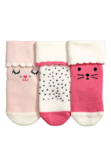 3-pack terry socks - Cerise pink - Kids | H&M