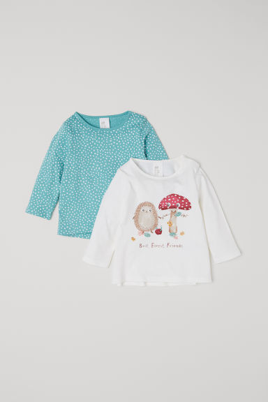 2-pack cotton tops - Light turquoise/White - Kids | H&M