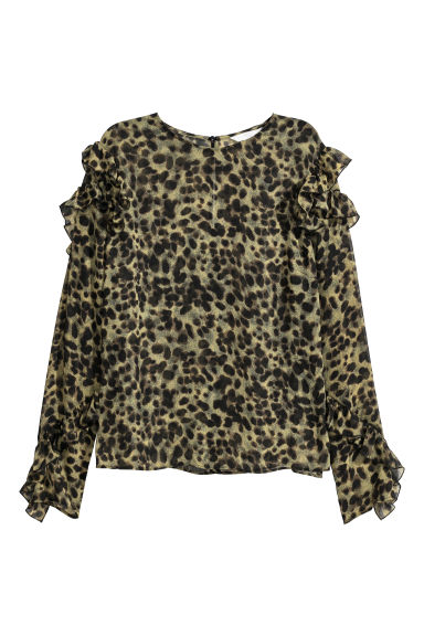 Flounced blouse - Green/Leopard print - Ladies | H&M