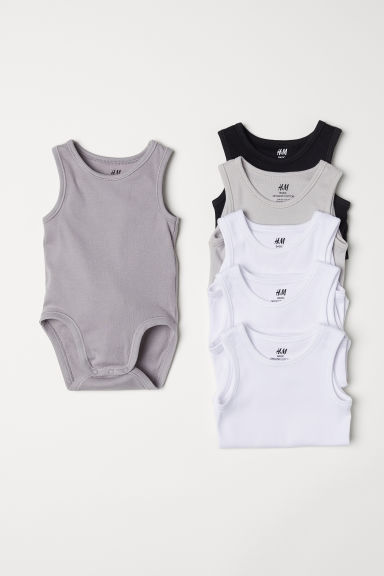 6-pack sleeveless bodysuits - Black - Kids | H&M CN