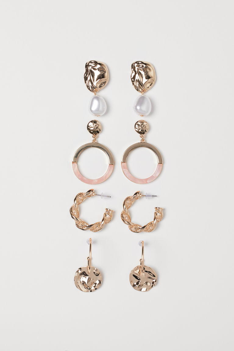 4 pairs earrings - Gold-coloured/Powder pink - Ladies | H&M
