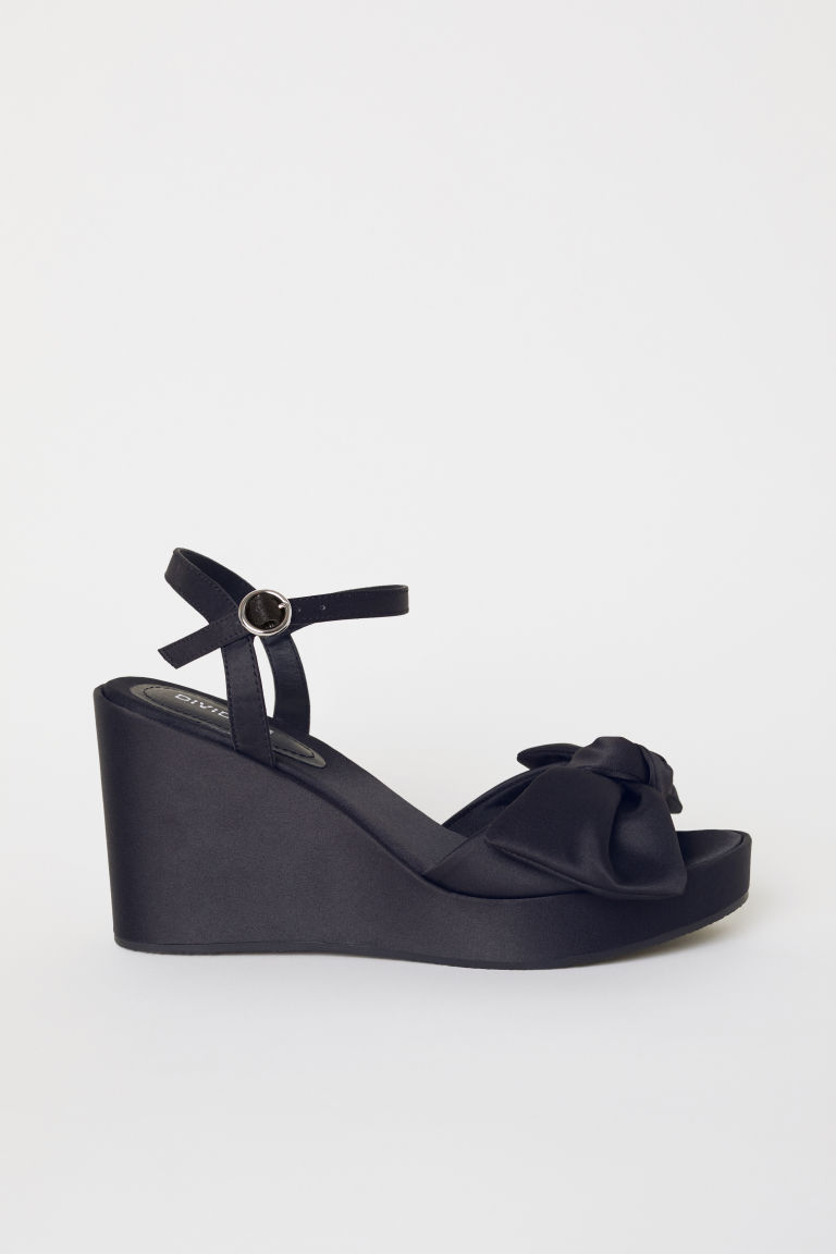 Wedge-heel sandals - Black -  | H&M CN