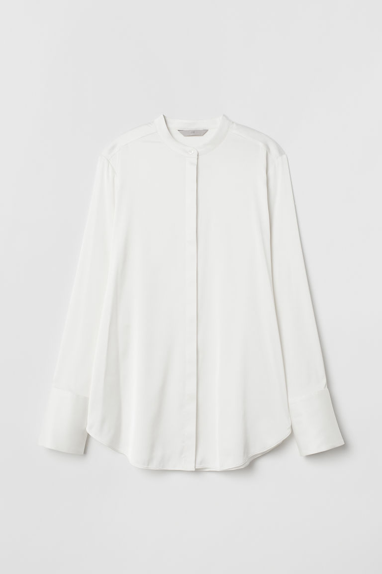 Satin blouse - White - Ladies | H&M CN