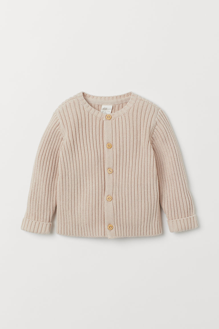 Ribbed cardigan - Light beige - Kids | H&M