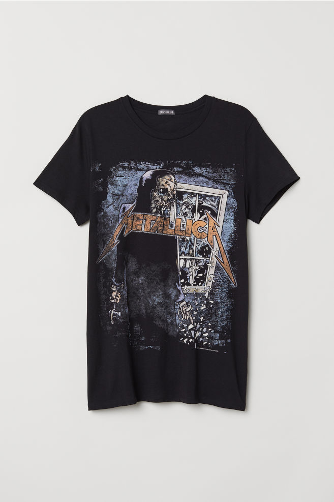 567f8f0439f Printed T-shirt - Black Metallica - Men