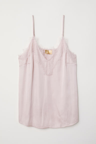 Satin strappy top with lace - Powder pink - Ladies | H&M