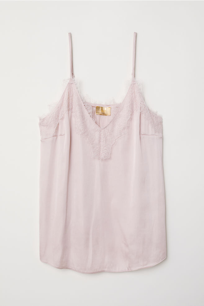 8180a04fbf Satin Camisole Top with Lace - Powder pink - Ladies | H&M ...