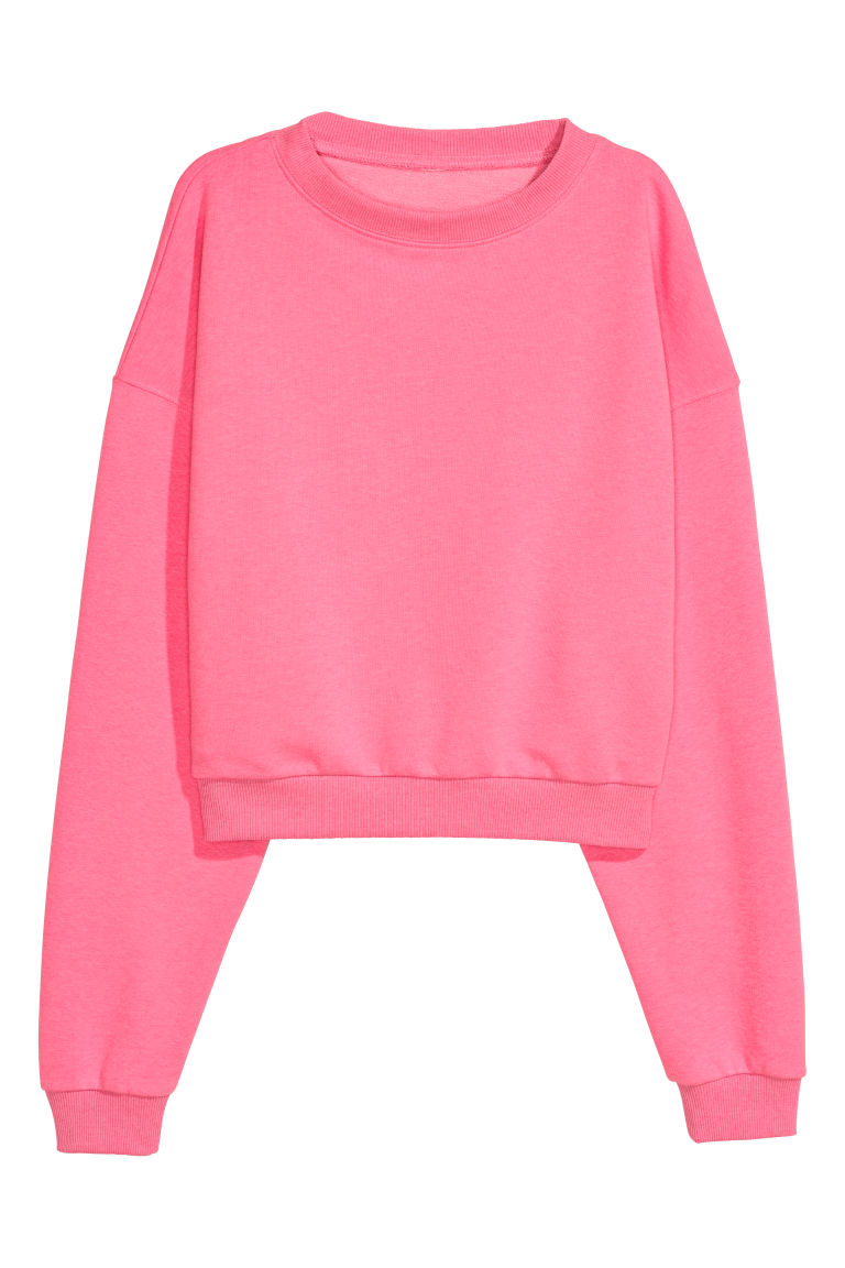 Cropped sweatshirt - Neon pink - Ladies | H&M CN