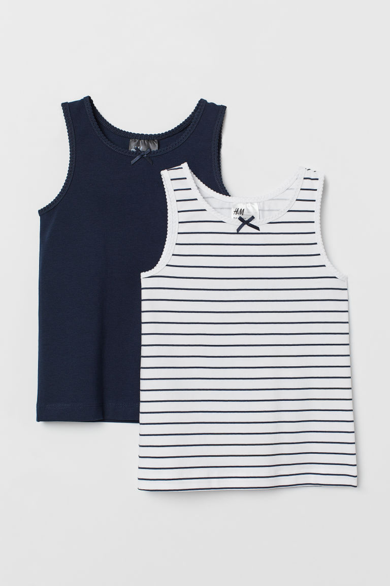 2-pack vest tops - Dark blue/Striped - Kids | H&M