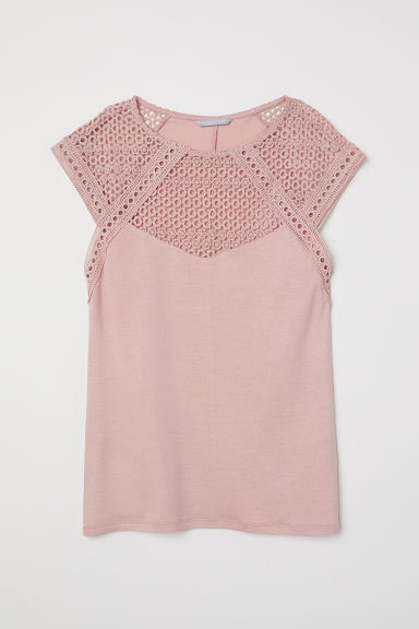 Top with a lace yoke - Powder pink - Ladies | H&M