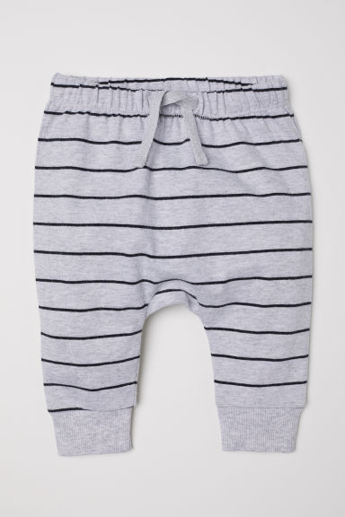 Jersey trousers - Light grey/Striped - Kids | H&M