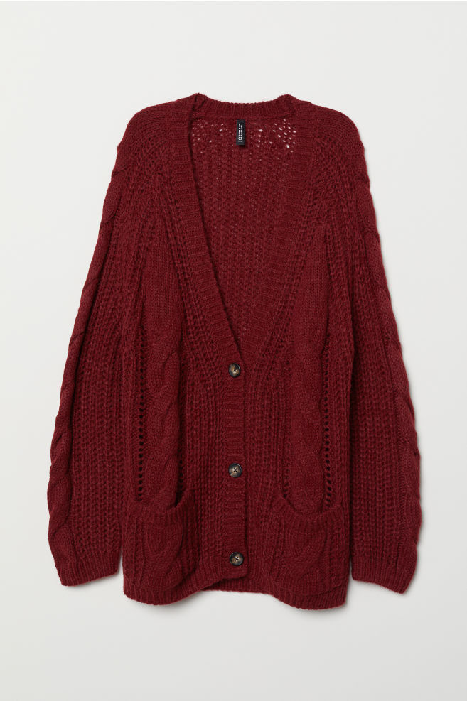 Cardigan in maglia a trecce - Bordeaux - DONNA | H&M IT 5