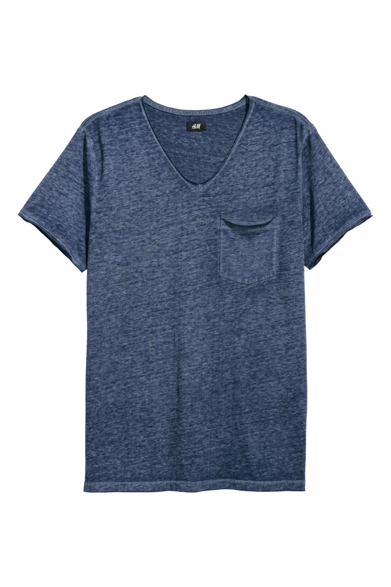 Raw-edge T-shirt - Dark blue marl - Men | H&M CN