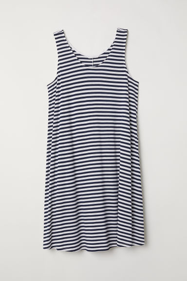 A-line jersey dress - Dark blue/White striped - Ladies | H&M CN