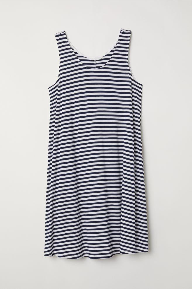51606e665eb3d A-line jersey dress - Dark blue White striped - Ladies